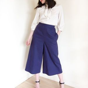 092b3beb8 Linen Pants   Wide leg cropped culottes in navy